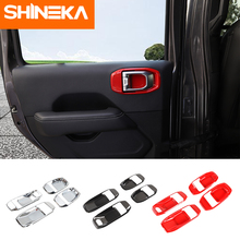 SHINEKA Interior Mouldings For Jeep Wrangler JL 2018+ Car Interior Door Handle Bowl Decoration Cover Trim Stickers For Jeep JL citall fit for jeep wrangler jl 2018 2019 abs interior copilot seat front grab handle bar trim cover strip mouldings decoration