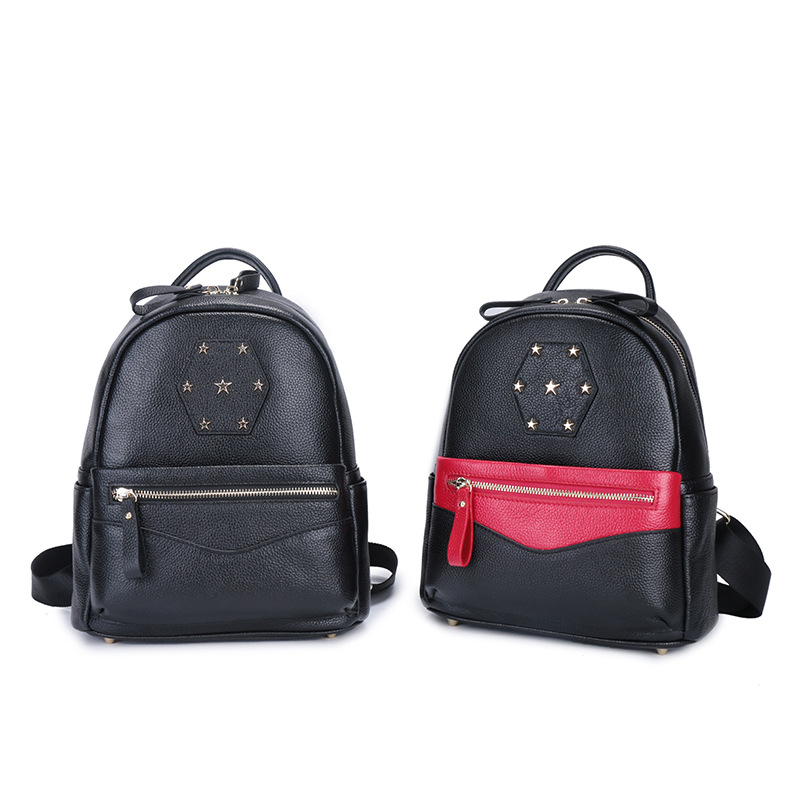 Fashion Women Bag Genuine Leather Softback Backpack School Shoulder Bag Black Bag Mochila Feminina