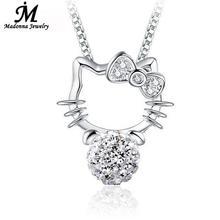 2017 New Fashion Shambhala Rhinestone Pendant Hello Kitty Silver Plated Crystal necklace pendant Jewelry Women