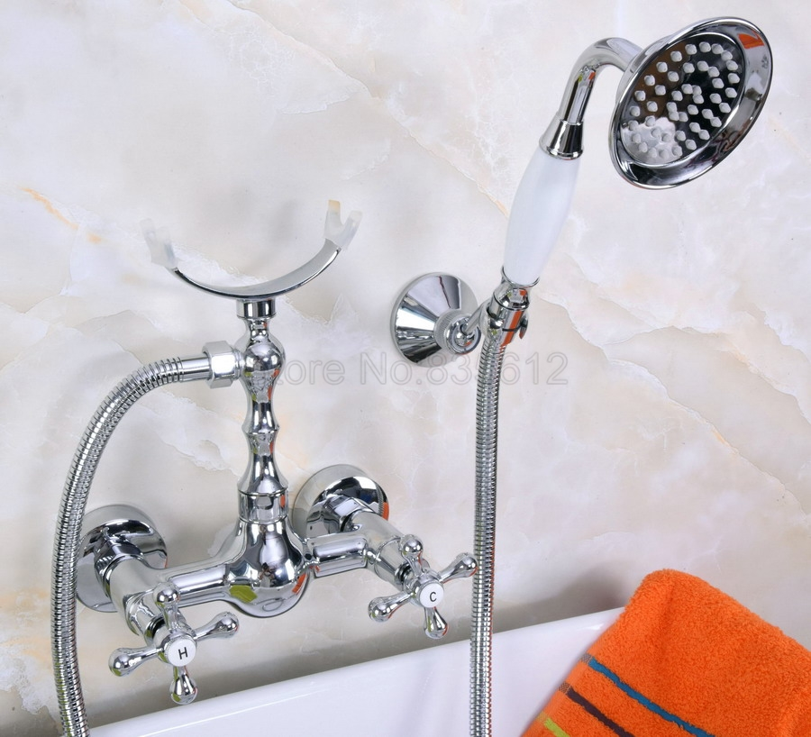 Polished Chrome Telephone Install Bathroom Sink Faucet Bathtub Basin Mixer Tap With Shower Hand tna253 antall install 11