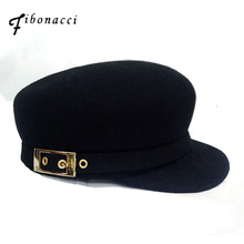 피보나치 귀 fedoras 고품질의 패션 양모 느낌 암소 귀 금속 체인 장식 검은 모자 여성 페도라 승마 모자