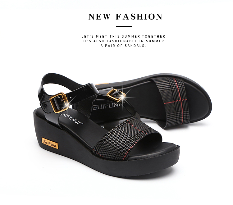 Sandals Female Summer Flat 2019 New Wild With High Heel Wedges Comfortable Non-slip Soft Bottom Pregnant Women Mother Shoes 76