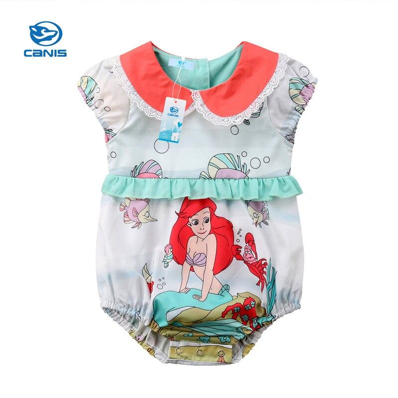 Summer Newborn Baby Girls Infant Pen Pan Collar Cute Cartoon Print Bodysuit Jumpsuit Playsuit Baby Girl Sleeveless Clothes 0-24M