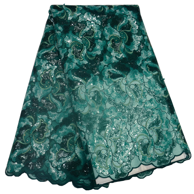 5yards pc high quality emerald green African organza lace fabric with allover sequind embroidery for