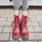 Bimolter 2019 Mulheres Marca de Moda Tornozelo Botas Vermelhas De Salto Alto Botas De Couro Martin Sapatos Sapatos de Festa Mulher Bombas de Dança Básica NB069 - 4