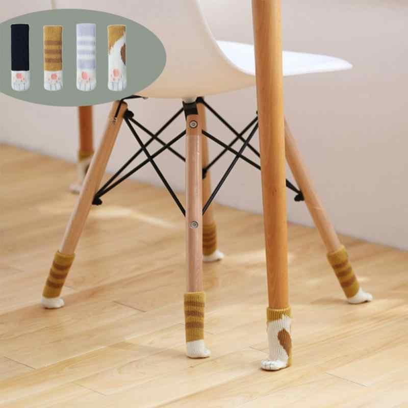 4pcs 의자 부티 슬리브 니트 의자 다리 커버 고양이 발 보호 의자 다리 양말 식탁 바닥 미끄럼 방지 수호자