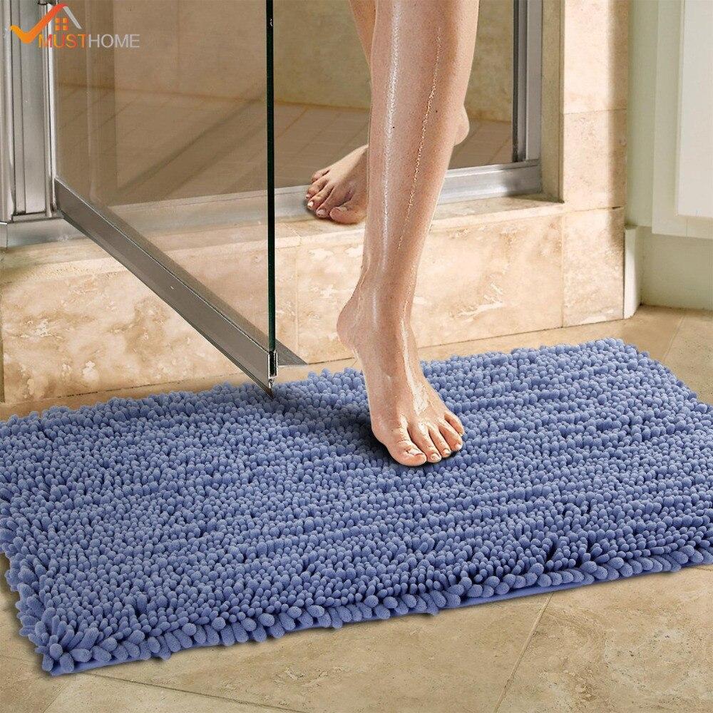 Tapis de bain en microfibre Chenille Super doux 50x80 cm tapis de salle de bain antidérapant