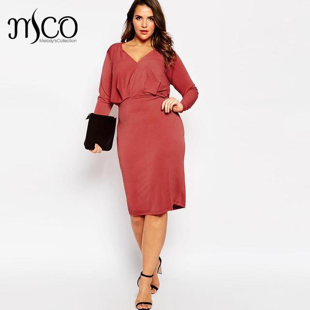 Brand Sexy Robe Deep V Neck Office Wrap Dress Elegant Autumn Long Sleeves  Bodycon OL Women Midi Pencil Dresses Plus Size 6xl 7xl 75242c1a9880