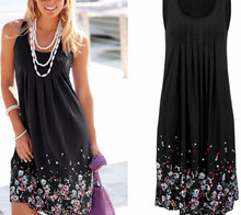 Summer Loose Sleeveless Dresses Floral Print