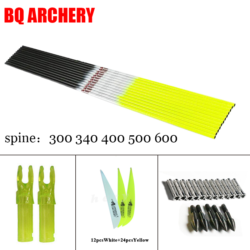 12pcs Linkboy Archery Pure Carbon Arrows shaft Sp300 340 400 500 600 DIY Accessories for Compound