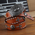 Men's Pin buckle belt hand leather belt cowboy men belt  buckle in  Retro leather personality gothic belt