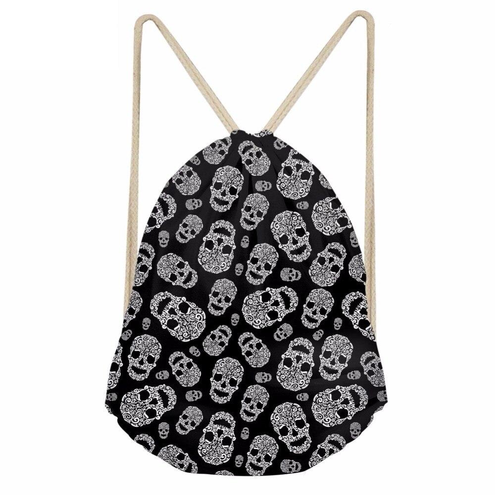 Punk 3D Skull Printing Women Men Drawstrings Bags Multifunction Storage Backpacks Softback Travel Beach Punch BagsSumka