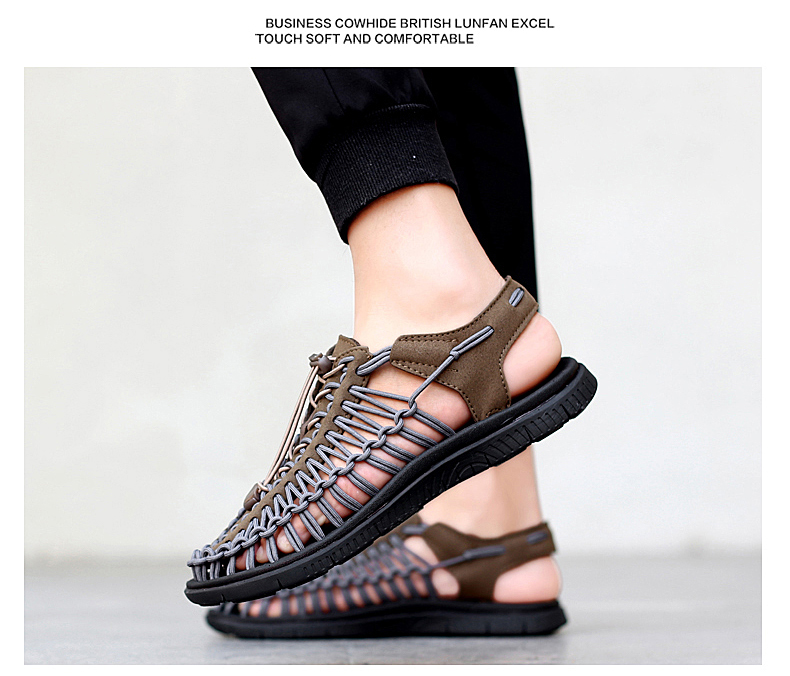 SERENE Brand2019 Summer Men Sandals Weaves Breathable Shoes Casual Sandals Fashion Design High Quality Comfortable Casual Sandal (19)