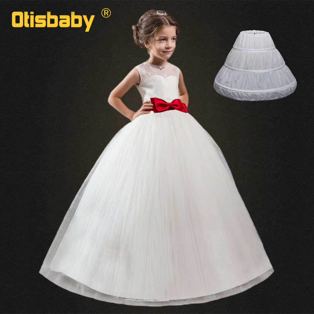 Children's Party First Communion Dresses White Frocks for Girls Kids Evening Gowns Christmas Dress for Girls 9 10 11 12 13 Years