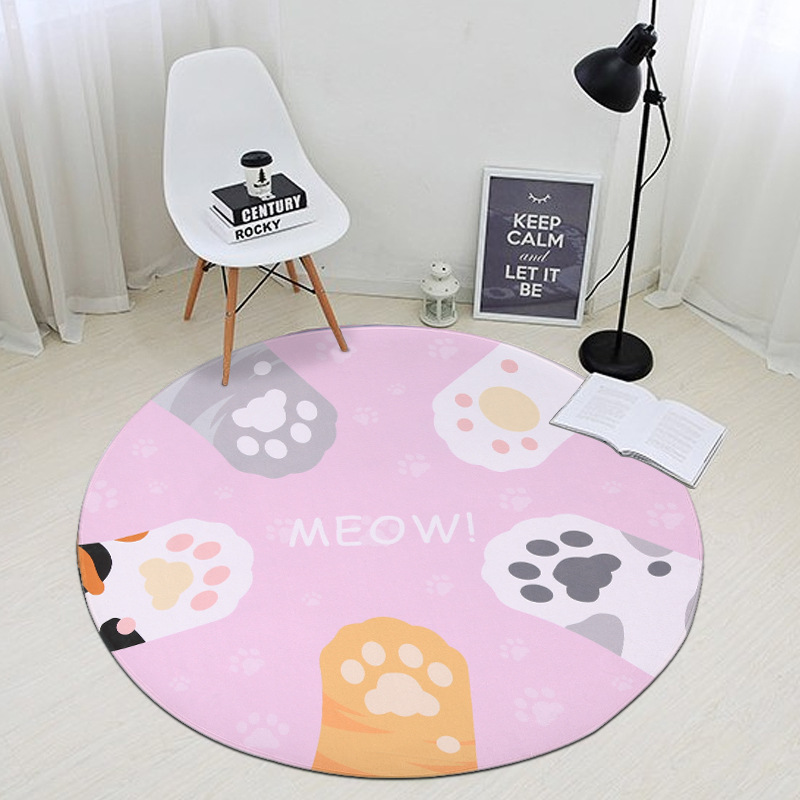 Zeegle Cat Claws Round Carpet For Living Room Non-slip Soft Child Room Rug Kids Play Mat Baby Crawling Mats Sofa Chair Floor Mat