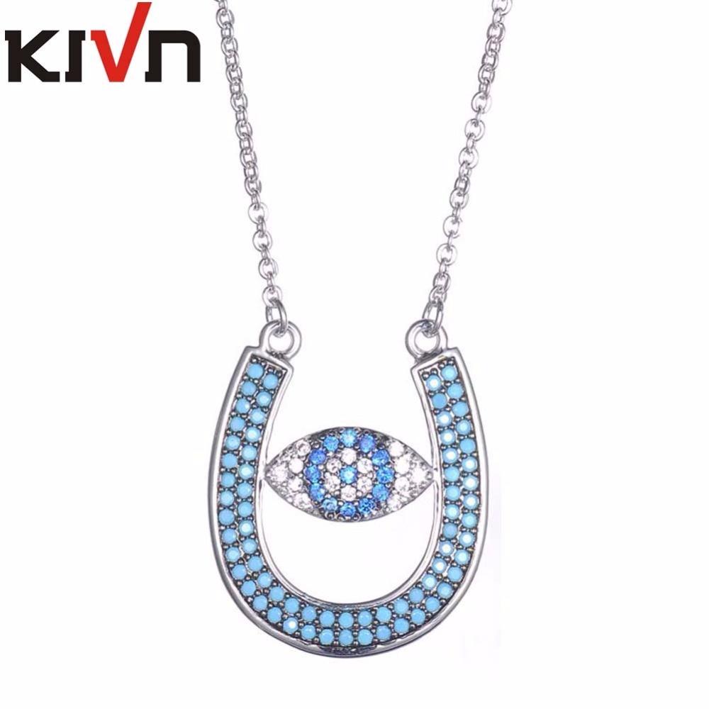 KIVN Womens Fashion Jewelry Turkish Blue eye Horseshoe CZ Cubic Zirconia Wedding Bridal Pendant Necklaces Mothers Birthday Gifts
