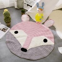 Lovely Cartoon Animals Knitted Rug 80cm Circular Nordic Style Handmade Floor Carpet Kids Baby Game Mat Living Room Bedroom Rugs