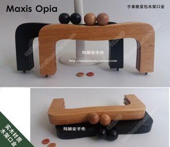 22 cm X 10 CM bois massif matériel chine usine fournisseur en bois sac à main cadre sac pièces Obag poignée accessoires en bois sac poignée