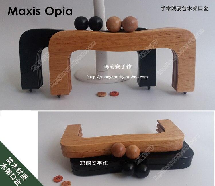 22cm x 10 cm material de madeira maciça china fábrica fornecedor de madeira bolsa quadro saco peças obag alça acessórios saco de madeira alça