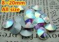 100 unids/lote Cristal AB Color de 8mm, 10mm, 12mm, 14mm, 16mm, 18mm, 20mm Chino de Calidad Superior Redondo Fancy Stone Rivoli Pointback cristal perlas