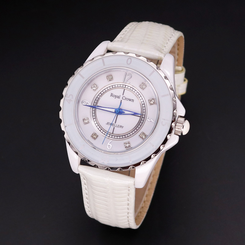 Free Spare Strap Ceramic Men's Watch Women's Watch Japan Quartz Hour Fine Fashion Clock Leather Girl's Gift Royal Crown Box