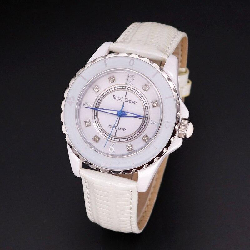 Free Spare Strap Ceramic Men's Watch Women's Watch Japan Quartz Hour Fine Fashion Clock Leather Girl's Gift Royal Crown Box