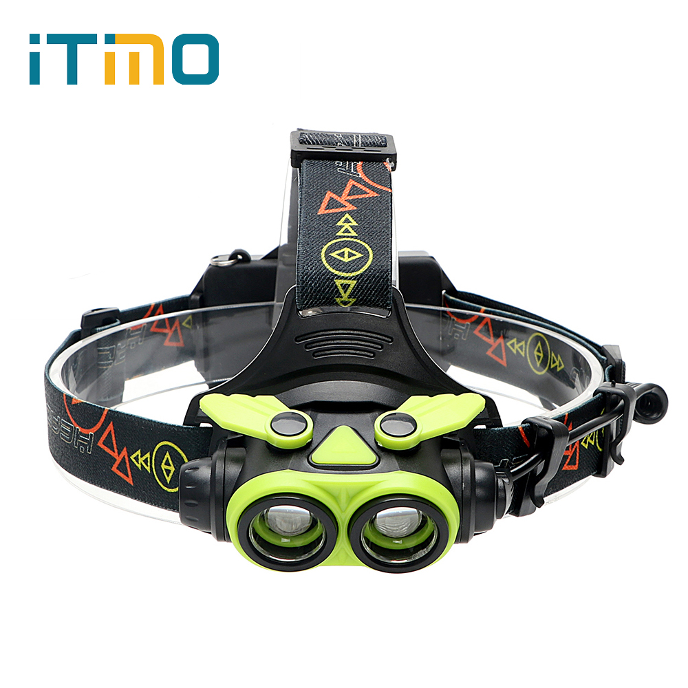 ITimo Zoom Headlight LED Headlamp For Night Fishing USB Rechargeable Head Lamp 2*18650/3*AA Battery 4 Modes Torch Flashlight