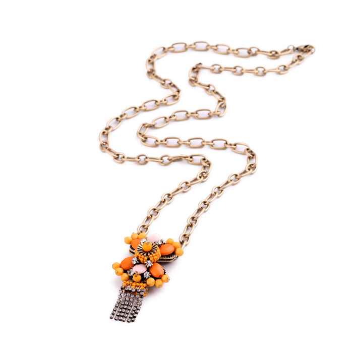 Go Boldly Brilliant Daisy Necklace Gold Color Simply Design Long