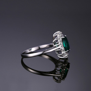 Image 3 - JewPalace Princess Diana Simulated Emerald Ring 925 Sterling Silver Rings for Women Engagement Ring Silver 925 Gemstones Jewelry