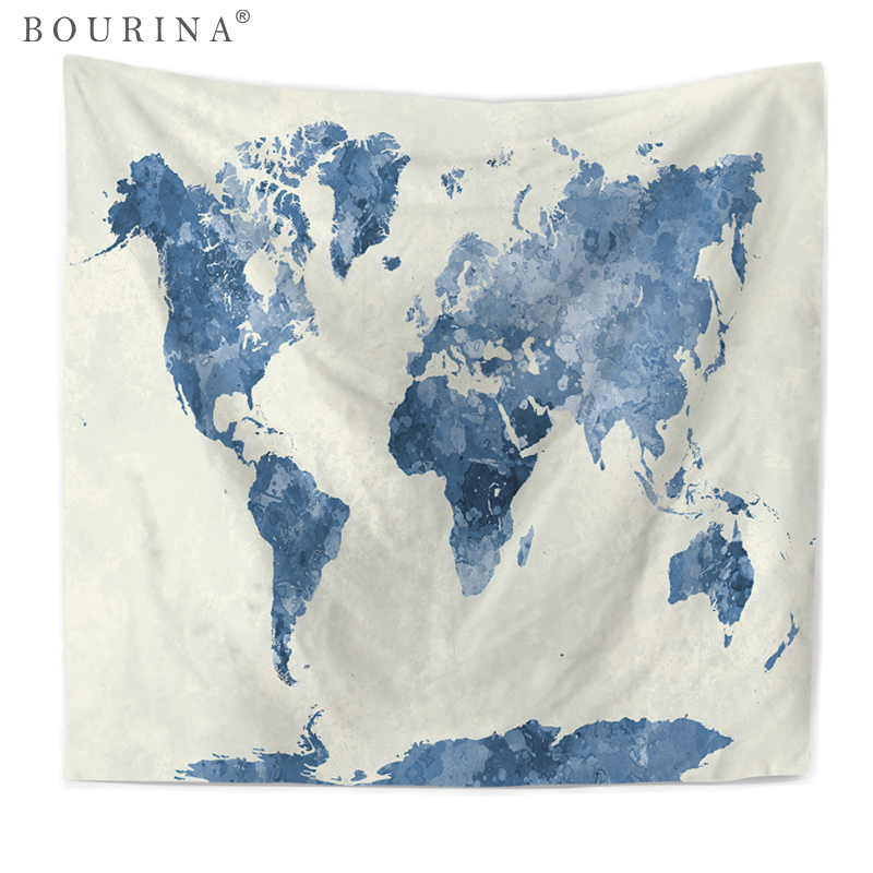 Bourina World Map Printed Tapestry Wall Hanging Modern Home Decoration Yoga Mat Table Cloth Tapisserie Tapiz Pared Y169 ...