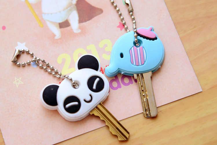 1 pièce Silicone clé couverture pour les femmes clé casquette point porte-clés dessin animé Panda porte-clés mignon porte-clés porte-clés cadeaux