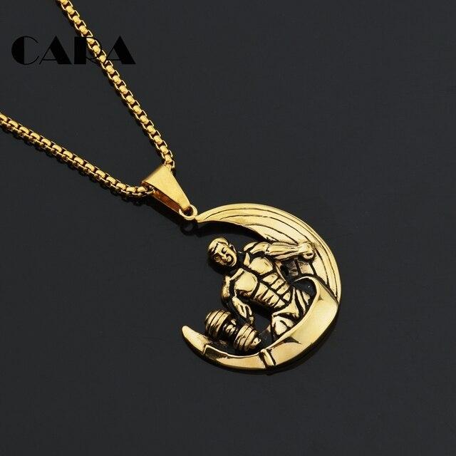 collier homme pendentif lune