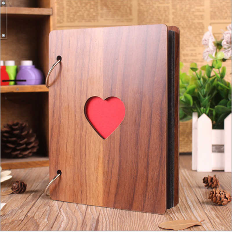 Fashion 6 inch wooden cover DIY photo album baby growth memory albums life photo embossed book wedding photo collection gift