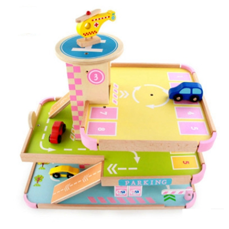 FlyingTown Pretend to play children toy three-dimensional wooden parking lot toys