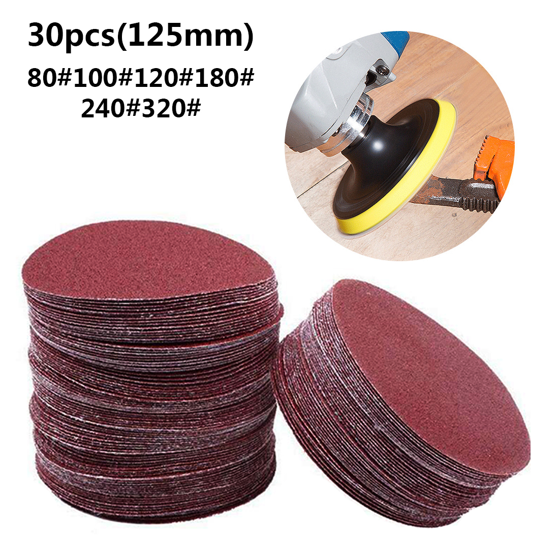 5inch 125mm 30pcs/set Round Sandpaper Disk Sand Sheets Grit 80/100/120/180/240/320 Hook And Loop Sanding Disc For Sander Grits
