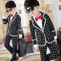 2016 Boys Gentleman Suit High Quality Plaid Jacket Fashion Boys Suit Jacket + Trousers + Shirt + Tie Clothing Set Big Time Rush