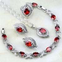 Eye Red Garnet White Topaz 925 Sterling Silver Jewelry Sets Women Earrings Pendant Necklace Bracelet 6