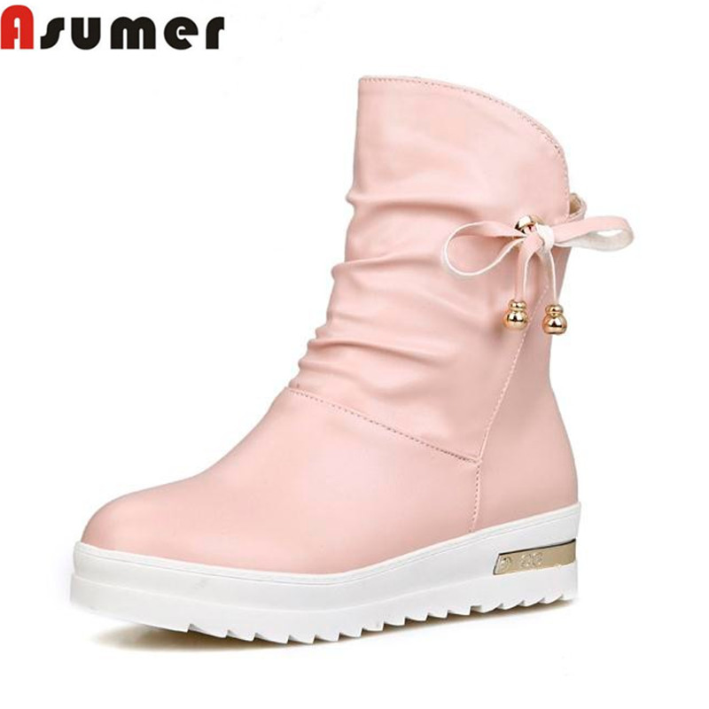 ФОТО autumn and winter soft leather keep warm low heels ankle boots round toe sweet pink beige women platform fashion boots