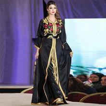 Hot Sale Fancy Farasha Abaya Jalabiya Islamic Muslim Design Kaftan Dubai Evening Dresses black Long Sleeve Prom Dress-9