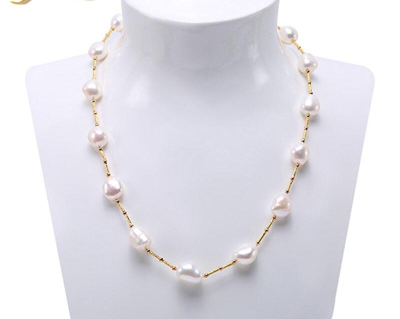 Collier en perles Long 925 Sterling collier en argent Blanc Baroque de Culture D'eau Douce Perle 21-31.5 pouces (12-15mm)