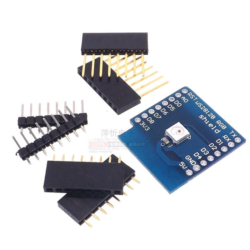 !!!Free shipping 10PCS W2812 RGB full-color module FOR D1 mini WIFI extension board learning board RGB driver module
