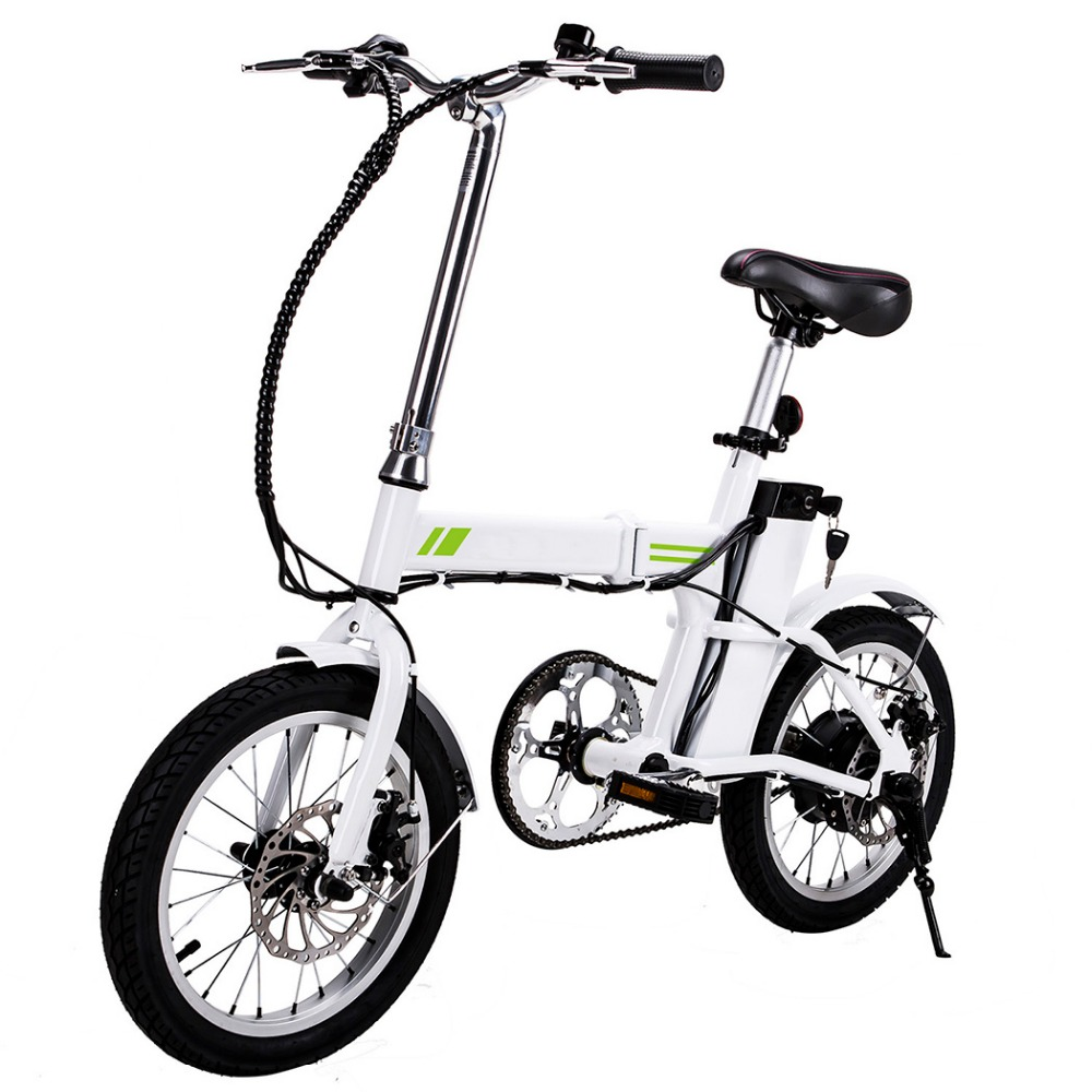 Ancheer 16 Inch New Outdoor E-Bike Folding Electric Bicycle with Collapsible Frame and Handlebar Display EU Plug ancheer new x shape folding magnetic upright exercise bike with pulse fitness equipment 100kg magnetic upright fitness bike