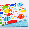 Printed colorful fish Kids Twill Cotton Fabric cotton Patchwork Cloth ,DIY Sewing Quilting Fat Quarters Material For Baby&Child