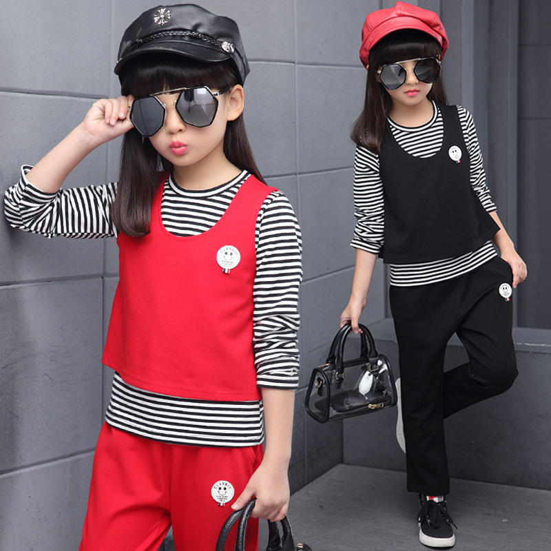 Spring 2018 Fashion Girls Clothing Sets Kids Clothes Children Set Long Sleeve Striped T-shirts + Vest + Pants 3 Pcs Sports Suit new spring kids clothes navy long sleeve pullover striped sports suit casual boys clothing set z249