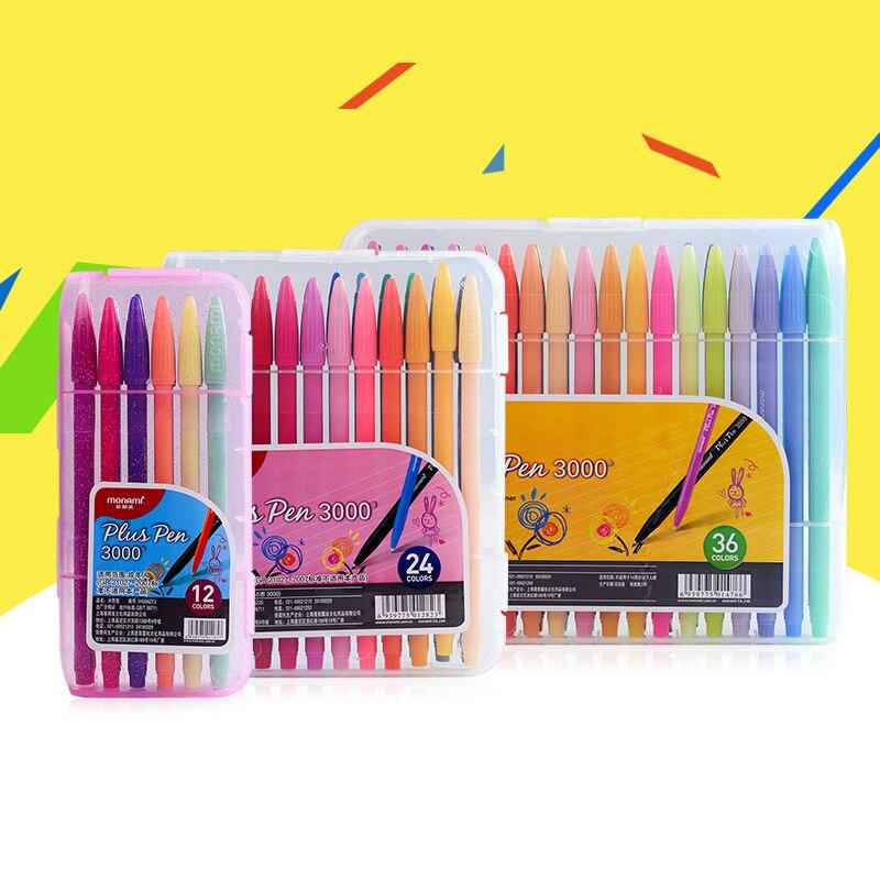 monami 36 cores pintados a mao linha de fibra de agua caneta pintura estudante caneta neutra