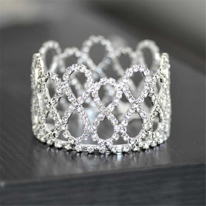 Rhinestones Full Circle Mini Newborn Baby Tiaras And Crowns Photography Props Crystal Round Baby Crown Hair Jewelry Accessories