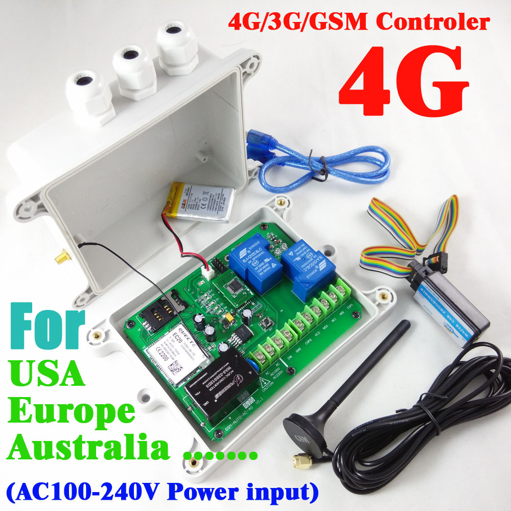 4G / 3G / GSM Double Relay Remote Switch Controller (SMS Relay Switch) Rechargeable Battery For Power Off Alarm GSM-AUTO-AC 4G