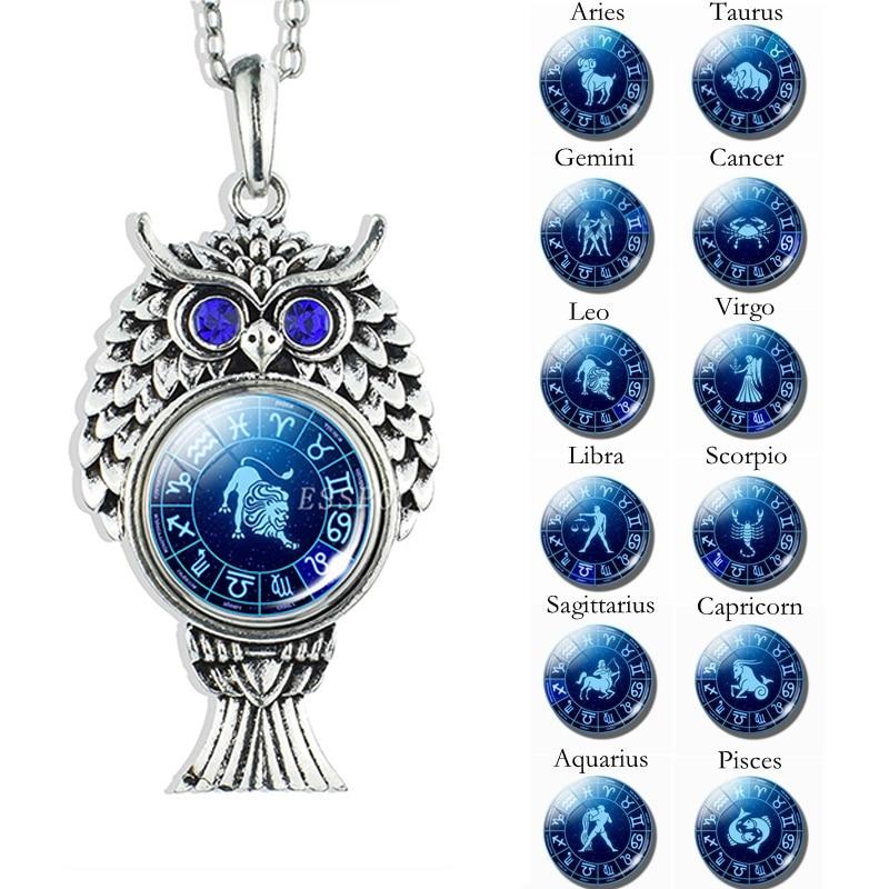 Cute Owl Pendant Stainless Steel Necklace 12 Zodiac Signs Aries Taurus Gemini Cancer Leo Scorpio Constellation Jewelry