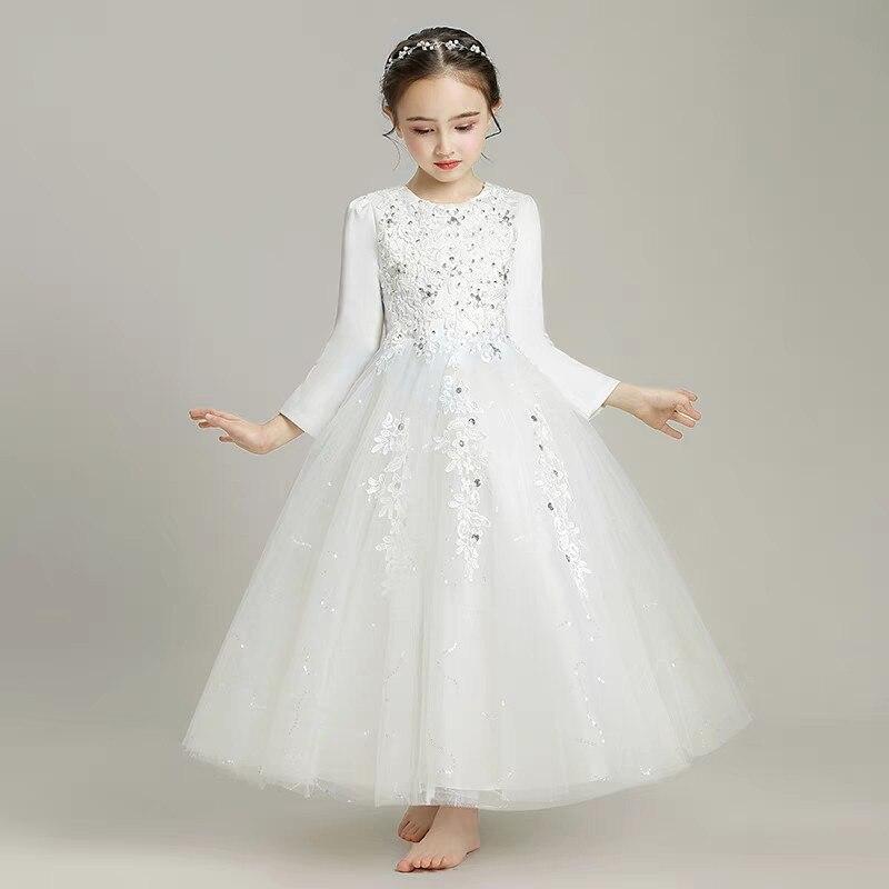 Élégant enfants filles élégant couleur blanche automne hiver anniversaire soirée fête princesse dentelle robe adolescents bambin robe de bal