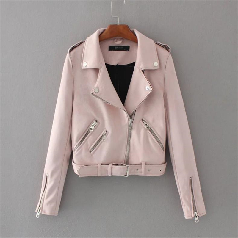 Woman Spring   Suede   Jackets Female Autumn Motorcycle Jacket   Leather   Women Oversized   Leather   Coat Lady Short Moto & Biker Overcoat